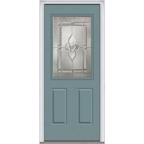 32 X 73 Exterior Door Mmi Door 32 In X 80 In Master Nouveau Right 1 2 Lite 2 Panel Classic Painted Fiberglass