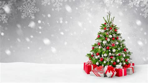 wallpaper christmas tree decoration presents gifts snowfall  celebrations christmas