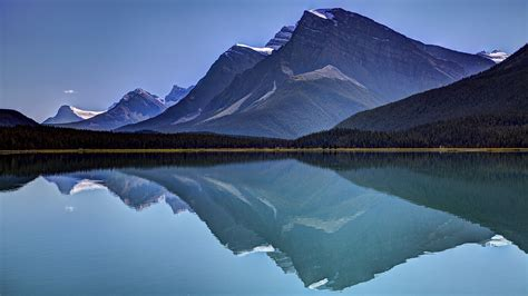 sky mountains lake reflection wallpapers