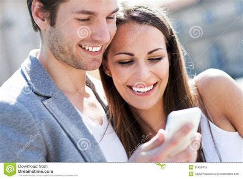 Mobile For Couples With Mobile Phone Royalty Free Stock Images Image