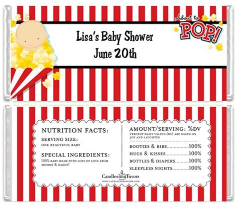 bar wrappers template for baby shower printable free free template for shes about to pop invitations ideas