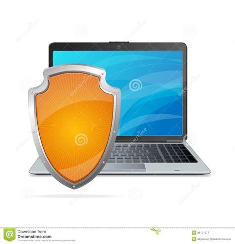 Anti Virus Laptop security concept shield antivirus and laptop stock image