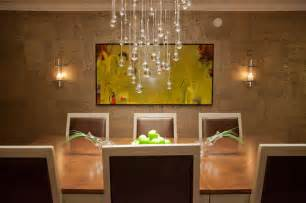 Modern Chandeliers For Dining Room Contemporary Dining Room With Droplet Chandelier And Handmade Wallpaper Contemporary