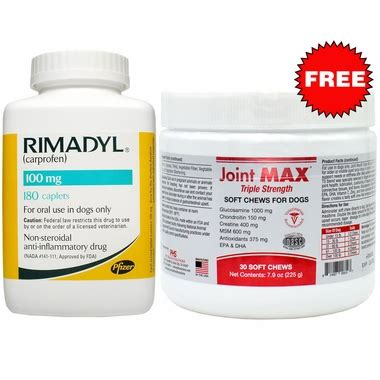 Joint Max Isi 30 rimadyl 100mg 180 caplets free joint max strength soft chews 30 chews