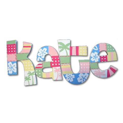 Patchwork Letters - hawaiian patchwork painted wall letters
