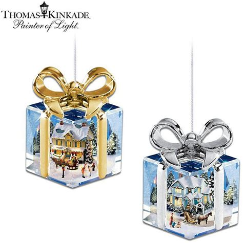 thomas kinkade gift shaped christmas ornament collection