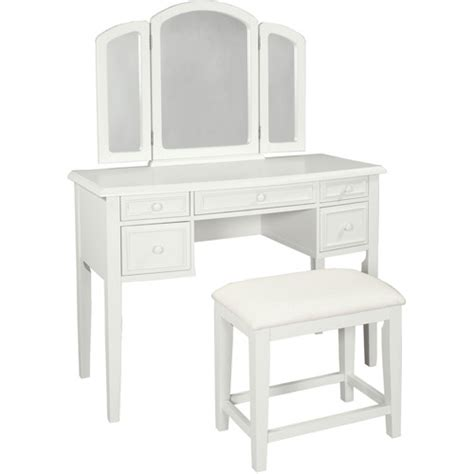 vanity with tri fold mirror and bench colors