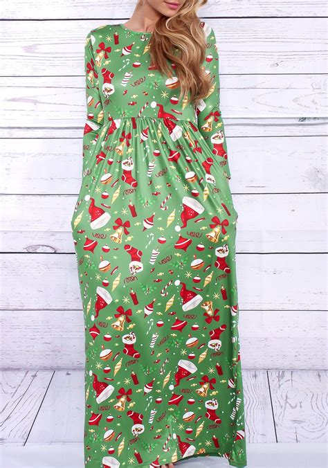 green christmas hat and christmas stockings print pleated