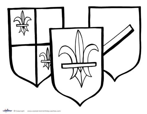coloring page of a knight s shield pin printable knights shield template on pinterest