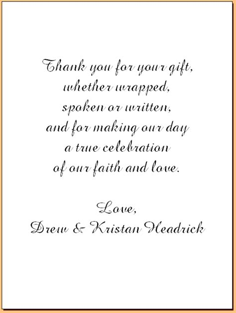 thank you letter wedding gift exles lake house creations weddings