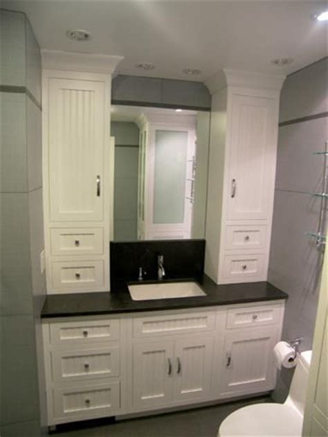 made bathroom vanity and linen cabinet by edko
