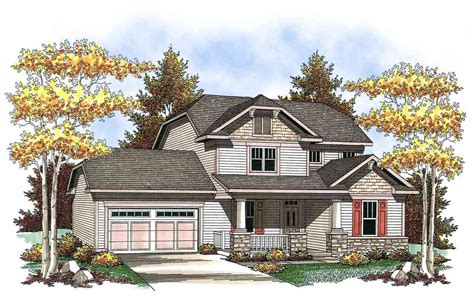 two story house plan with 3 porches maverick homes two story craftsman with spacious front porch 89660ah