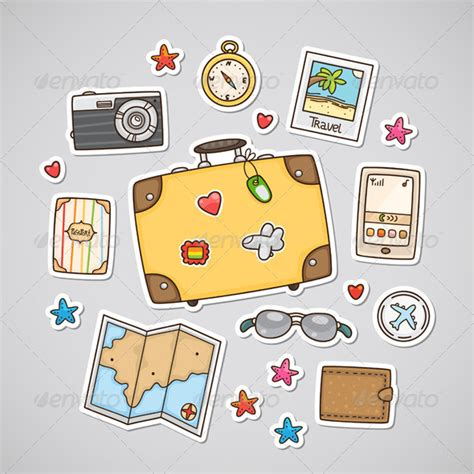 travel stickers by nenochka graphicriver