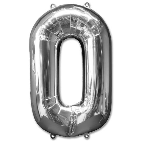 Silver Foil Balloon U number 0 silver foil balloon 40 inch inflated balloon shop nyc
