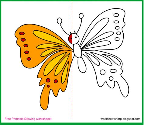 free draw free drawing worksheets printable butterfly drawing