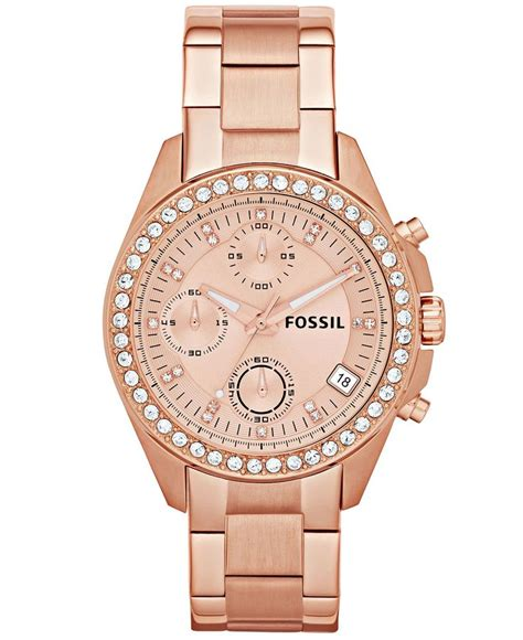 fossil womens chronograph decker rose gold tone stainless