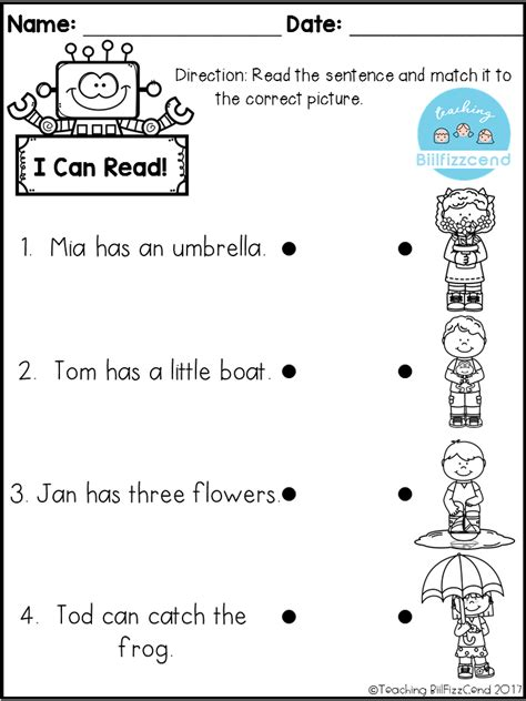 Pre K Reading Worksheets free reading comprehension check teaching biilfizzcend