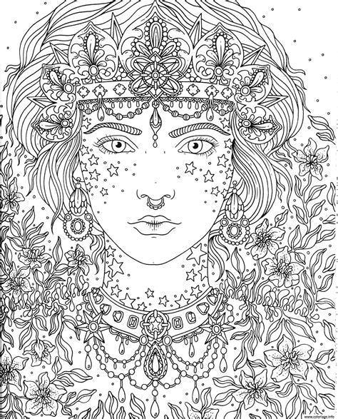 Coloriage Adulte Princesse Fleurs Dessin