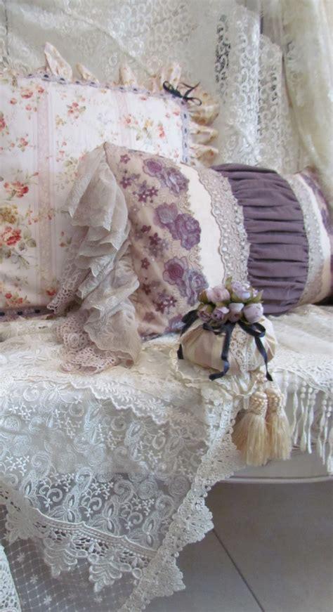 angela lace purple cushions