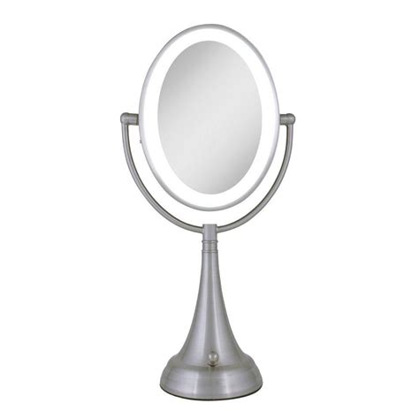 oval mirror with lights zadro 9 5 in x 19 in led lighted oval vanity mirror in