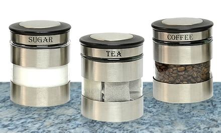 stainless steel kitchen canister sets stainless steel canister sets groupon goods