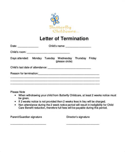 Daycare Withdrawal Letter Sle withdrawal daycare letter 28 images daycare