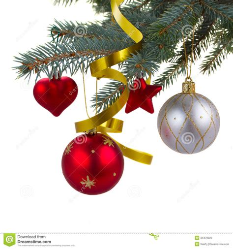 christmas decorations hanging on fir tree royalty free