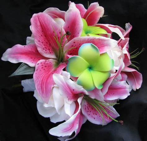 Natural Touch Bouquet Green Plumeria Stargazer Lily Rose