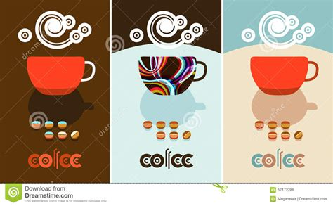 Coffee Beans, Steam Over Cup. Flyer, Banner, Menu Cover Designs Stock Vector   Image: 57172286