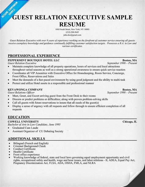 Relation Executive Resume by Guest Relation Executive Resume Resumecompanion