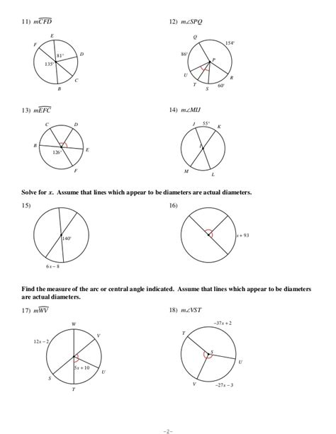 printable math worksheets arc length and area of a sector arcs and arc length no key area of segment worksheets
