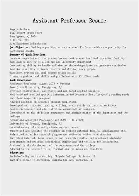 resume format for assistant professor resume sles assistant professor resume sle
