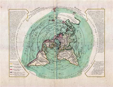 buache de neuville map   world  polar projection