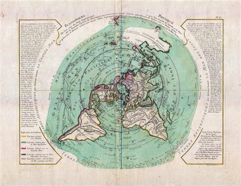 buache de neuville map   world  polar projection