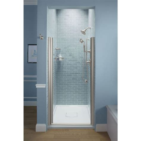 Kohler Glass Shower Doors Kohler Fluence 35 1 4 In X 65 1 2 In Semi Frameless Pivot Shower Door In Matte Nickel With