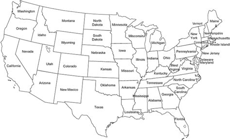 map usa states black and white united states map outline map