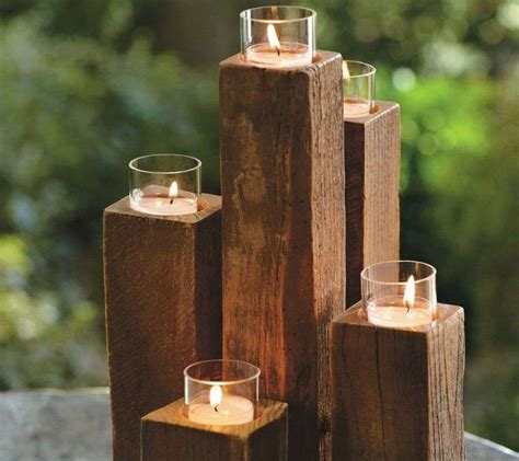 cool unique wooden candle holders   love