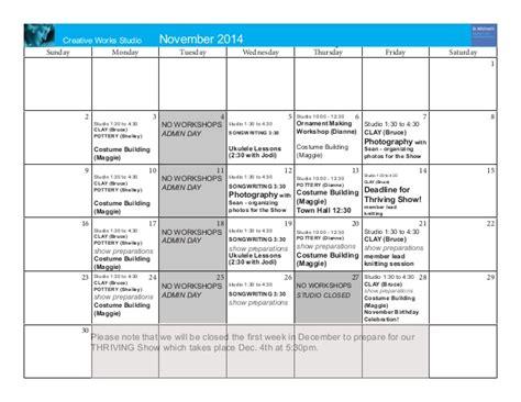 calendar program creative works studio november 2014 program calendar