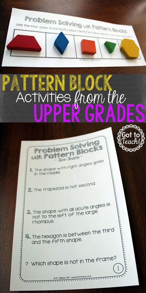 pattern problem solving activities problem solving with pattern blocks 1 math centers