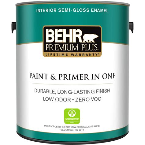 behr premium plus 1 gal ultra white semi gloss enamel zero voc interior paint and primer