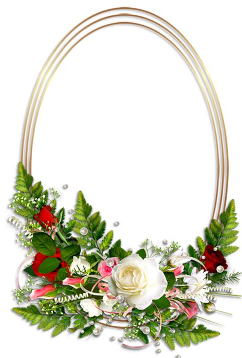 transparent oval frames oval transparent photo frame with flowers clipart best