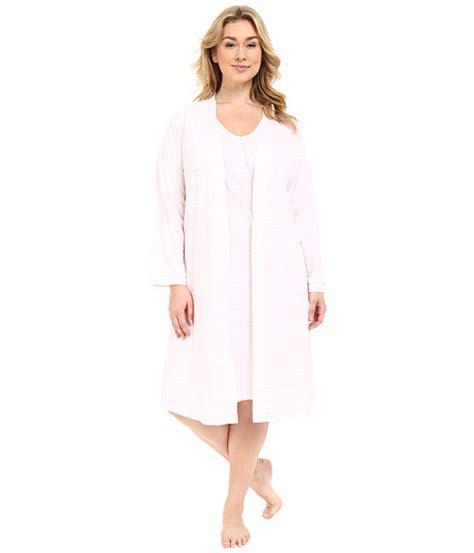 Dress Carol Wash carole hochman plus size robe gown set pink stripe 6pm