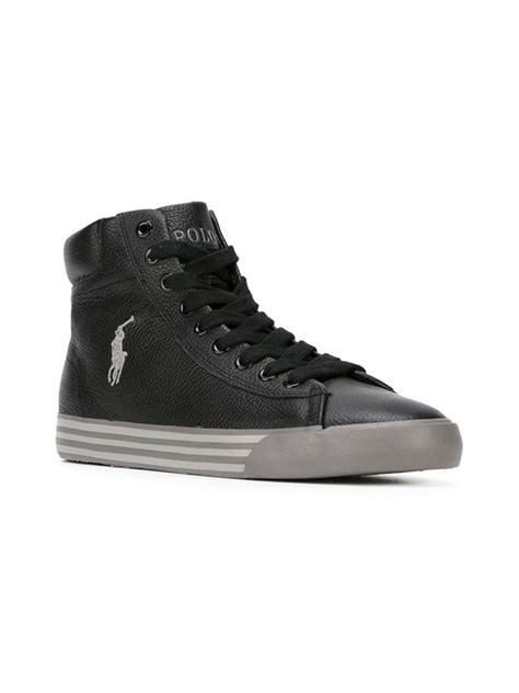 polo high top sneakers polo ralph logo hi top sneakers in black for lyst