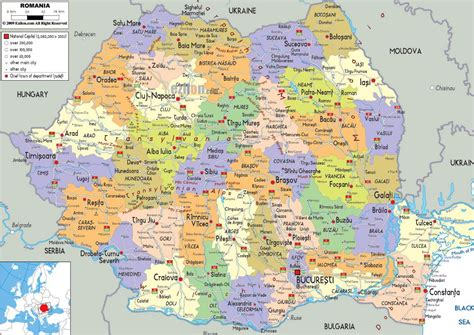 romania map with cities large political and administrative map of romania with
