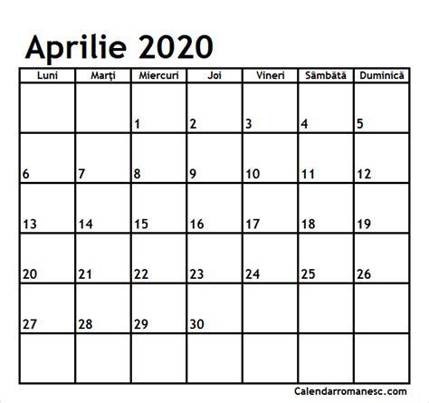 calendar aprilie  calendarul romanesc printabil