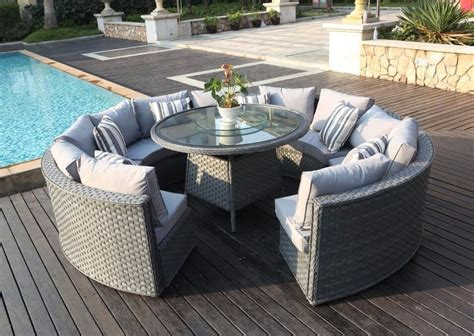 Monaco 10 12 Seater Round Rattan Outdoor Patio Garden Rattan Patio Table And Chairs