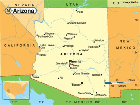 united states map of arizona arizona map