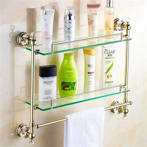 gold bathroom shelf gold crystal bathroom shower glass shelf bath shower shelf
