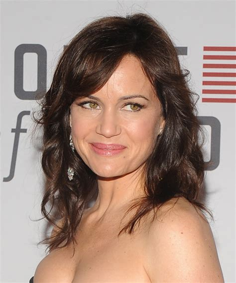 Carla Gugino Medium Wavy Casual Hairstyle   Dark Brunette
