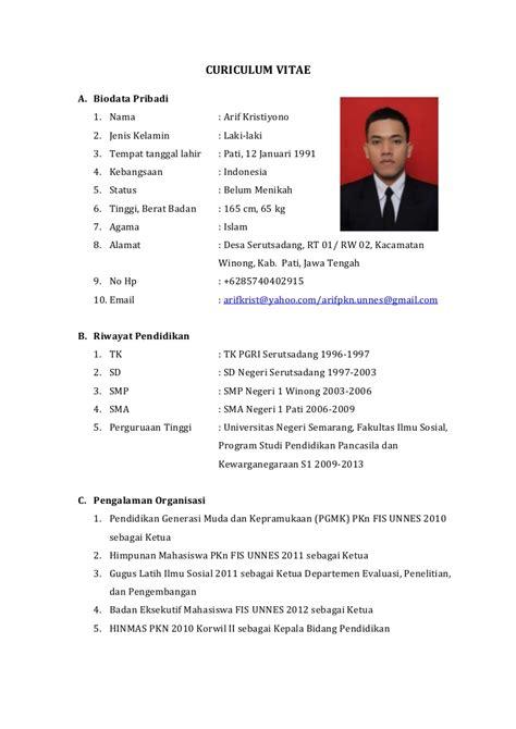 contoh membuat cv word contoh curriculum vitae bahasa indonesia 2013 cv nabila